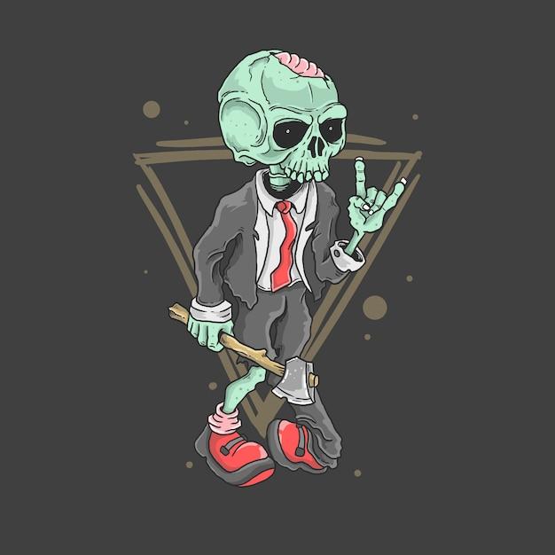 Carino zombie rocker illustrazione vettoriale Vettore Premium