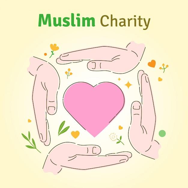 Carità musulmana Vettore Premium