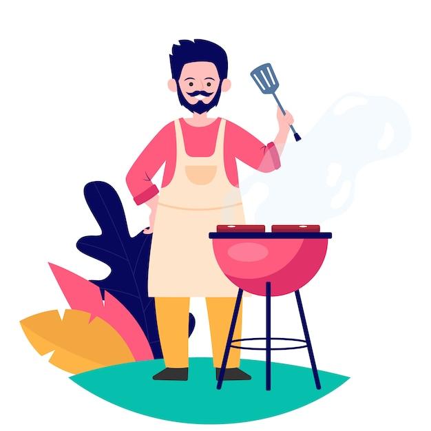 Carne fritta uomo sull'illustrazione piana di vettore della natura Vettore gratuito