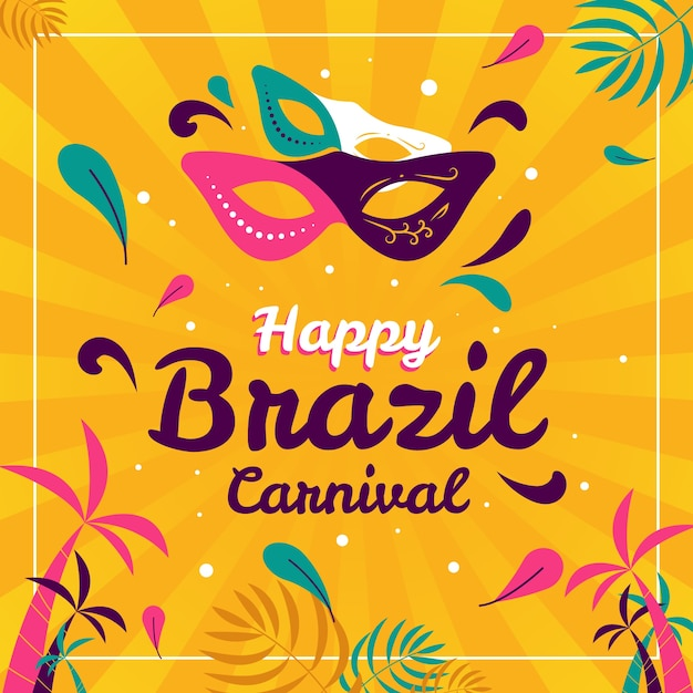 Carnevale brasiliano piatto colorato Vettore gratuito