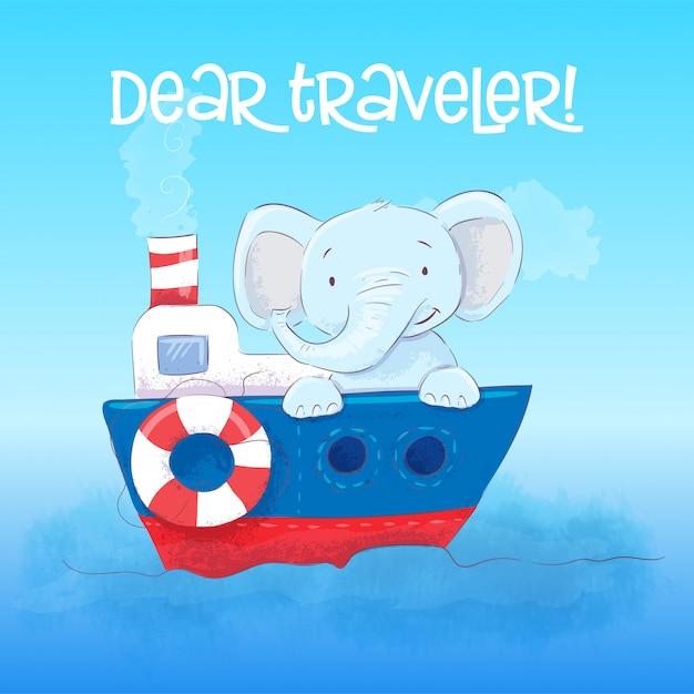 Caro viaggiatore il piccolo elefante sveglio galleggia su una barca. stile cartone animato vettore Vettore Premium
