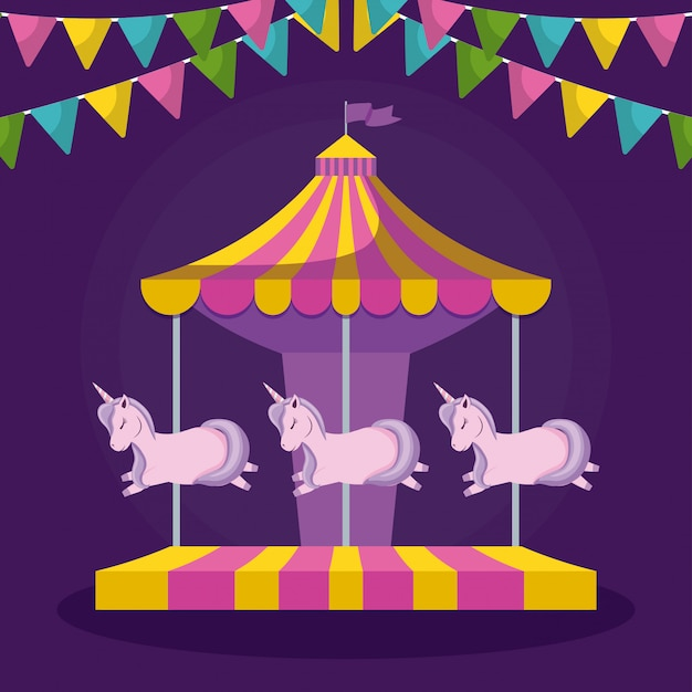 Carosello con unicorni e ghirlande appese Vettore Premium