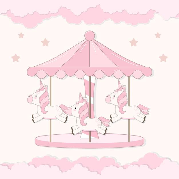 Carosello con unicorno carino e nuvola Vettore Premium