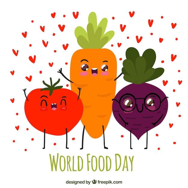 Carota felice, pomodoro e barbabietole Vettore gratuito