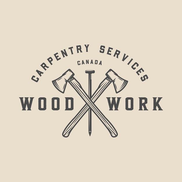 Carpenteria, badge in legno Vettore Premium