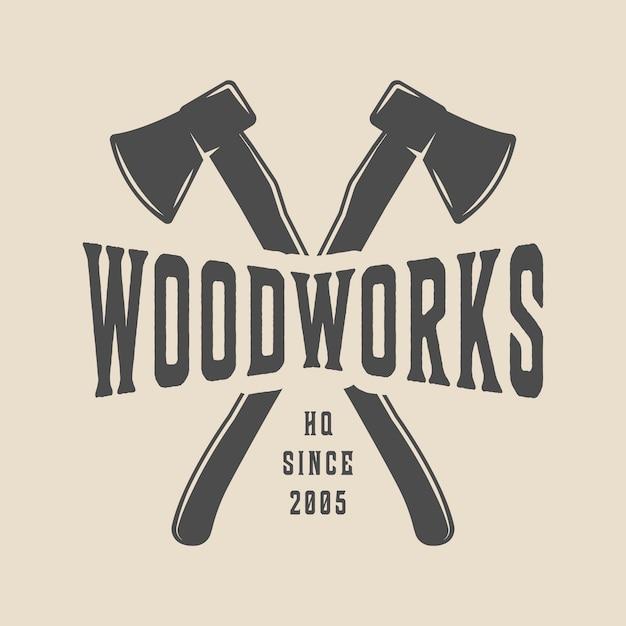 Carpenteria, logo in legno Vettore Premium
