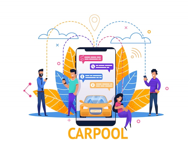 Carpool mobile application e ride planning nella chat Vettore Premium