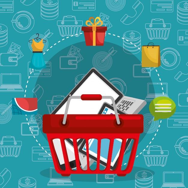 Carrello con icone di marketing set Vettore gratuito