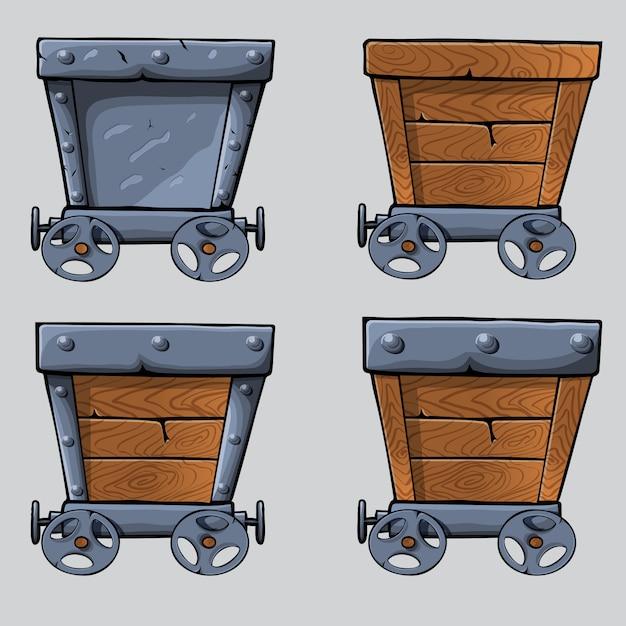 Carrello da miniera in legno Vettore Premium