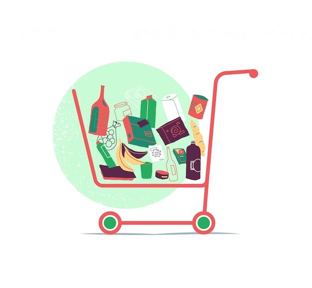 Carrello della spesa con molti prodotti all'interno del carrello Vettore Premium
