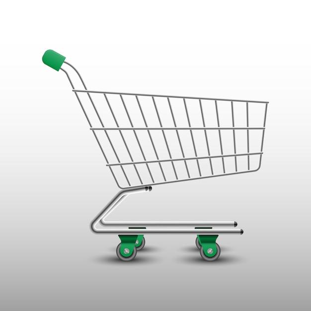 Carrello della spesa verde realistico Vettore Premium