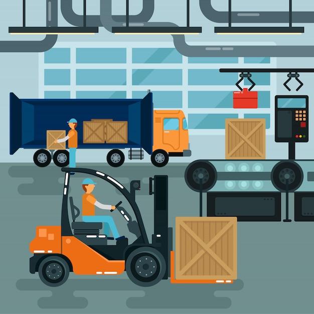 Carrello elevatore all'interno della fabbrica. industria del carico. trasporto pesante. trasportatore di magazzino. Vettore Premium