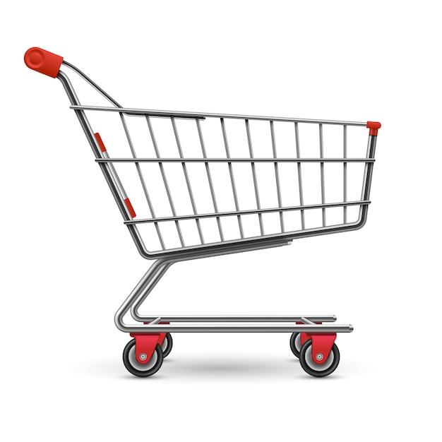 Carrello vuoto realistico del supermercato isolato su bianco Vettore Premium