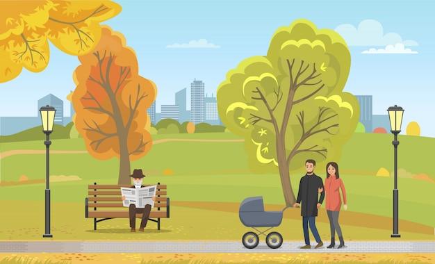 Carrozzina delle coppie che cammina autumn park together Vettore Premium