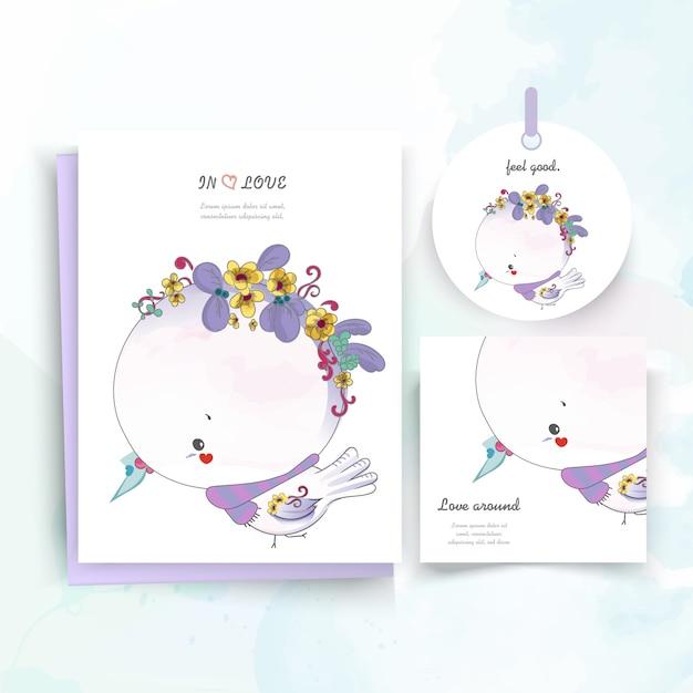 Carta animale carino floreale vintage in stile acquerello. Vettore Premium