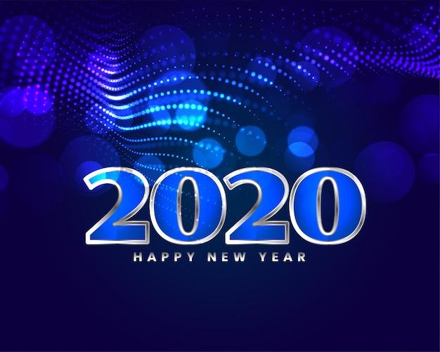 Carta blu brillante di progettazione di saluto del buon anno Vettore gratuito