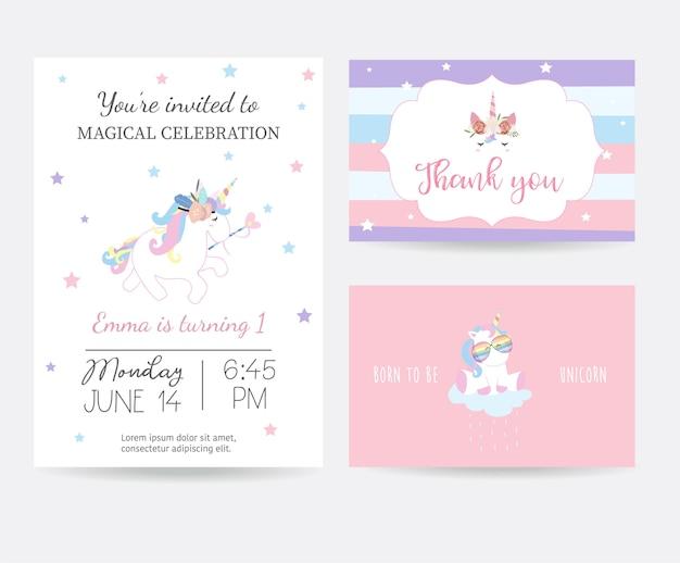 Carta carina disegnata a mano con testa di unicorno e occhiali Vettore Premium