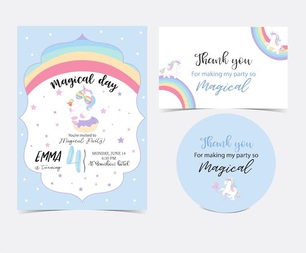 Carta carina disegnata a mano con unicorno Vettore Premium