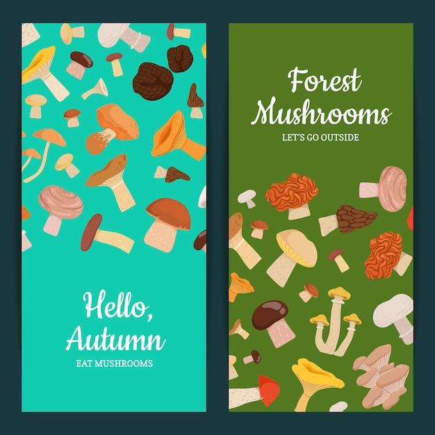 Carta con funghi dei cartoni animati Vettore Premium
