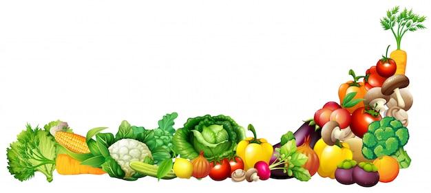 Carta con verdure fresche e frutta Vettore Premium