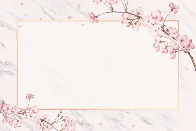 Carta cornice di fiori di ciliegio Vettore gratuito