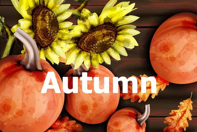 Carta d'autunno con zucche e semi di girasole Vettore Premium