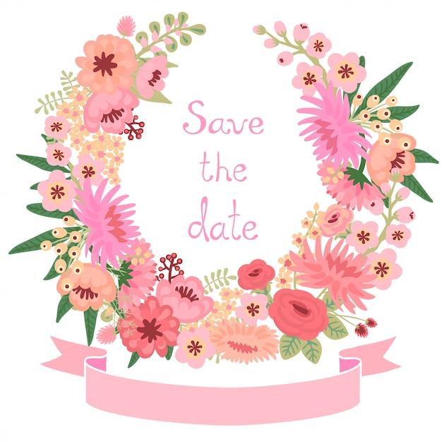 Carta d'epoca con ghirlanda di fiori. salva la data Vettore Premium
