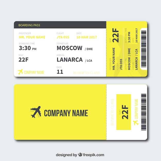 Carta d'imbarco giallo in design piatto Vettore gratuito