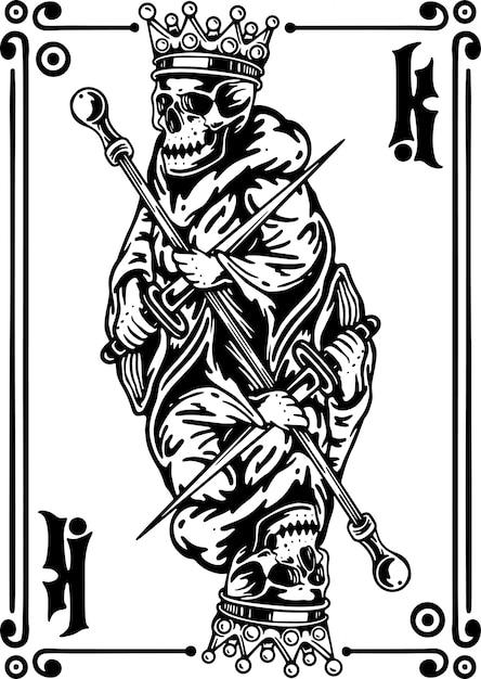 Carta da gioco king skeleteon Vettore Premium