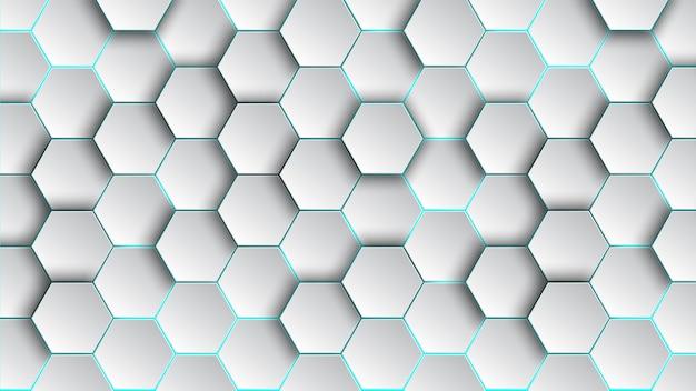 Carta da parati astratta e geometrica del fondo di esagono del modello con forma di web della copertura Vettore Premium