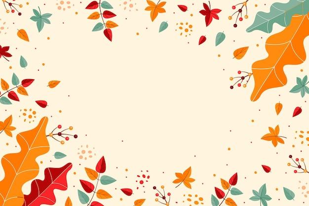 Carta da parati autunnale con foglie Vettore gratuito