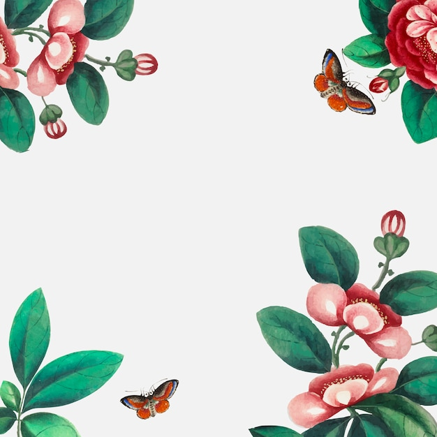 Carta da parati cinese con fiori e farfalle Vettore gratuito