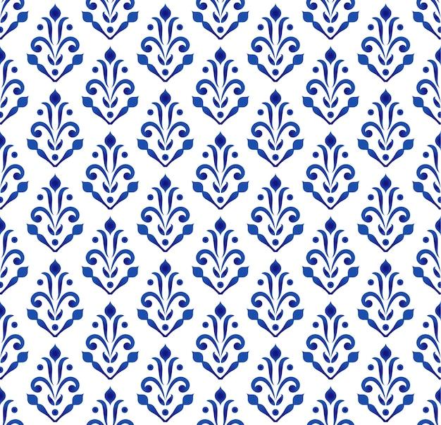 Carta da parati classica blu e bianca, design senza cuciture in ceramica Vettore Premium