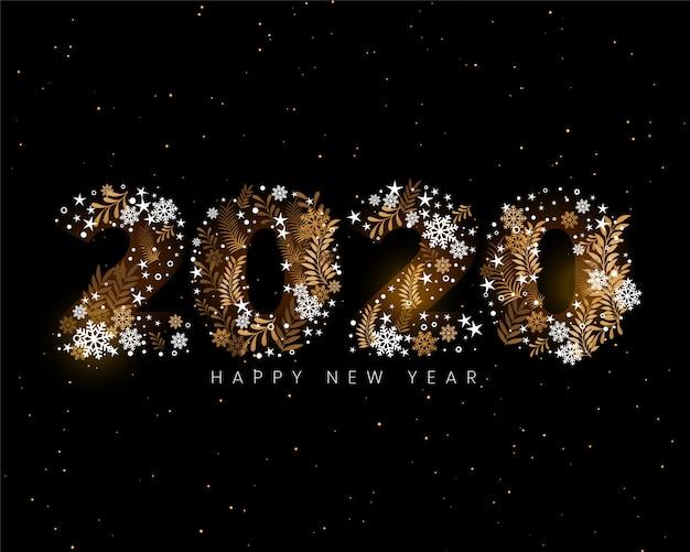 Carta da parati decorativa creativa di felice anno nuovo 2020 Vettore gratuito