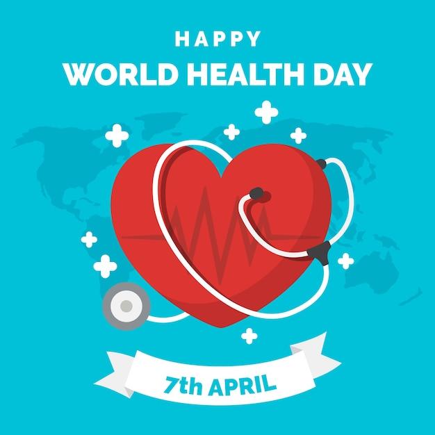 Carta da parati design piatto giornata mondiale della salute Vettore gratuito