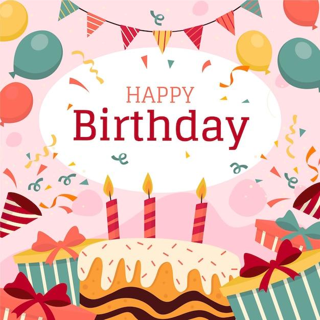 Carta da parati di compleanno con palloncini e torta Vettore gratuito