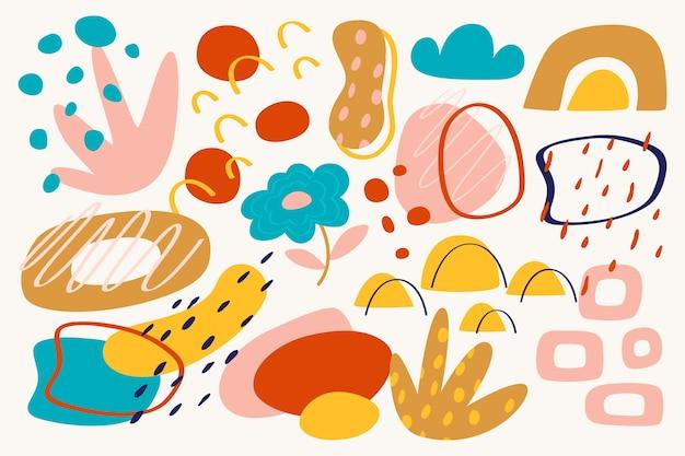 Carta da parati di forme organiche astratte disegnate a mano Vettore gratuito