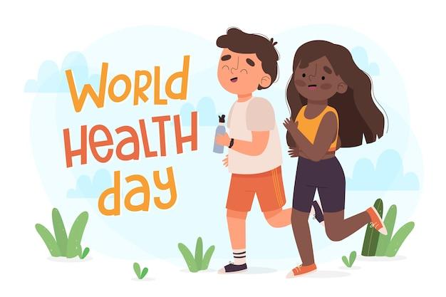 Carta da parati disegnata a mano di giornata mondiale della salute Vettore gratuito