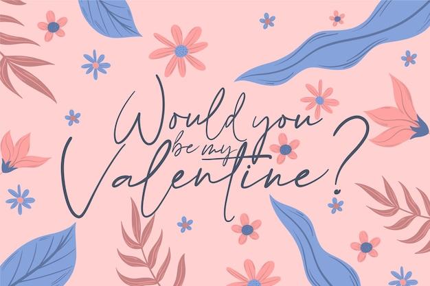 Carta da parati disegnata a mano di san valentino con scritte Vettore gratuito