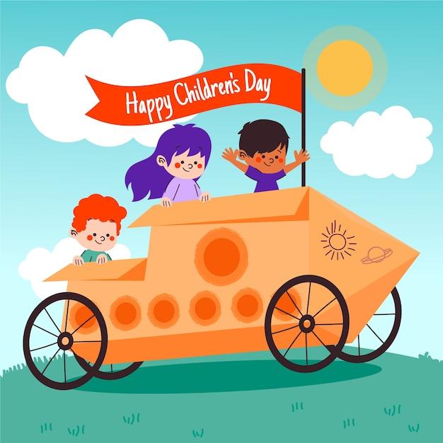 Carta da parati disegnata a mano per bambini felici Vettore gratuito