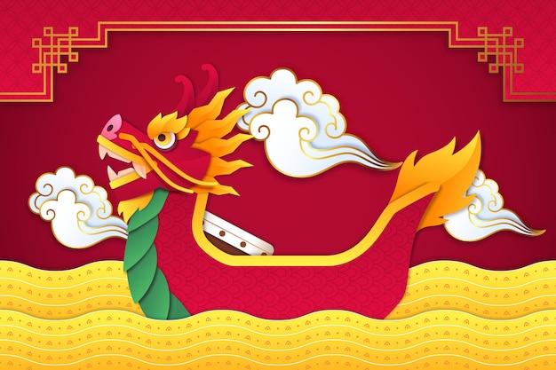 Carta da parati dragon boat in stile carta Vettore gratuito