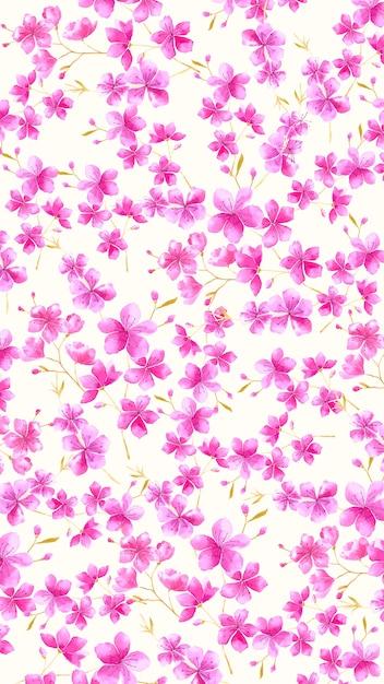 Carta da parati floreale dell'acquerello dello schermo mobile Vettore gratuito