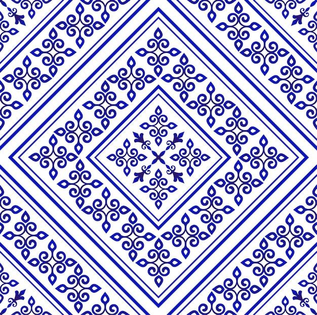 Carta da parati in porcellana in stile barocco, damasco floreale blu e bianco fiori ornamento, semplice decorazione arte, piastrelle di ceramica modello vettoriale senza soluzione di continuità, disegno macchina cinese Vettore Premium