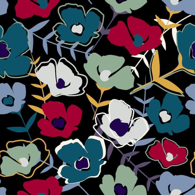 Carta da parati infinita moderna semplice piccoli fiori e foglie. Vettore Premium