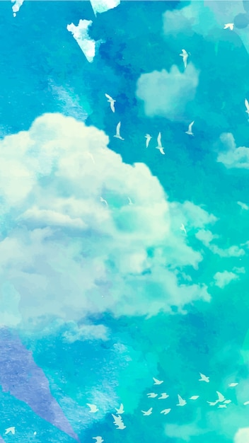 Carta da parati mobile con cielo ad acquerello Vettore gratuito