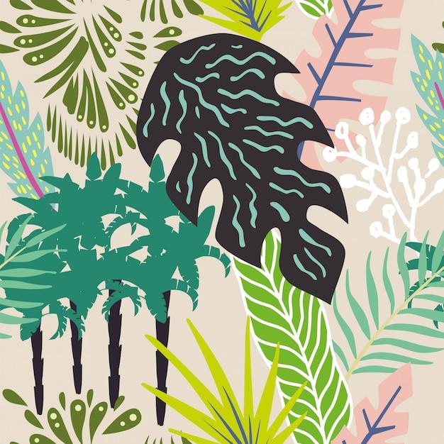 Carta da parati senza cuciture astratta del modello delle foglie e delle palme Vettore Premium