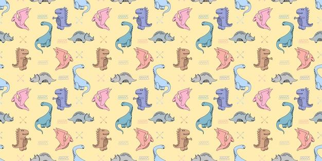 Carta da parati senza cuciture del fondo di scarabocchio disegnato a mano dei dinosauri Vettore Premium