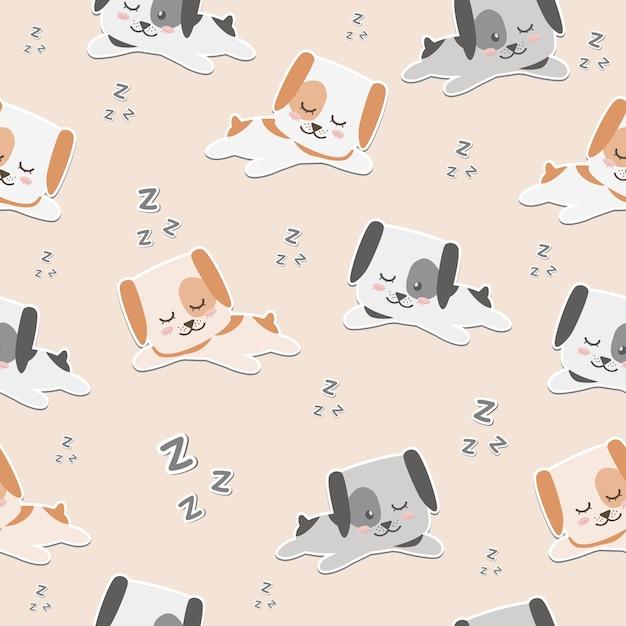 Carta da parati senza cuciture del modello di sonno sveglio del cane del fumetto Vettore Premium