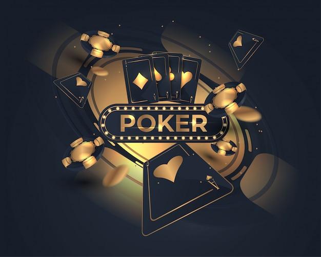 Carta da poker del casinò e design della ruota della roulette Vettore Premium