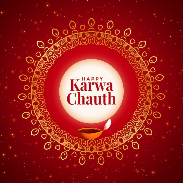 Carta decorativa creativa felice karwa chauth festival Vettore gratuito